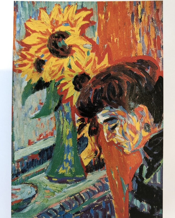 Womens Head with Sunflowers -  Ernst Ludwig Kirchner 1906